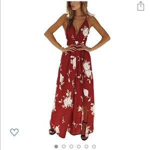 Dresses & Skirts - Floral Print Lace Up Backless Deep Maxi Dress